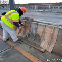Repairing Damaged Median Barrier.