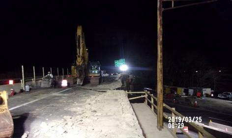 Sawcutting existing bridge 1017 deck slab