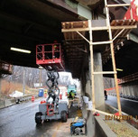 Installing work Platform on Bridge 1016 Pier over WB South Capitol St.