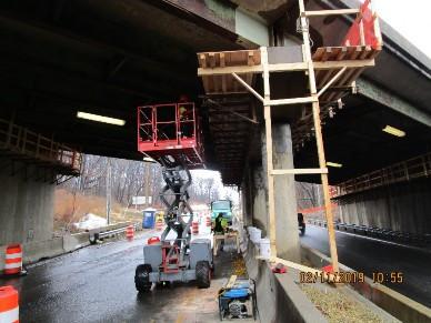 Installing work Platform on Bridge 1016 Pier over WB South Capitol St.