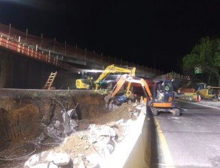 Debris removed for onsite disposal SW from P.G.L of South Cap. St on I-295 SB work was cancelled due to terrential rainfall and will continue the next activity day.