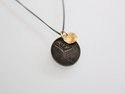 Embossed Flower Necklace with a little Gold Daisy