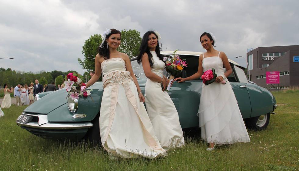 Tijdens een bruidsfotoshoot