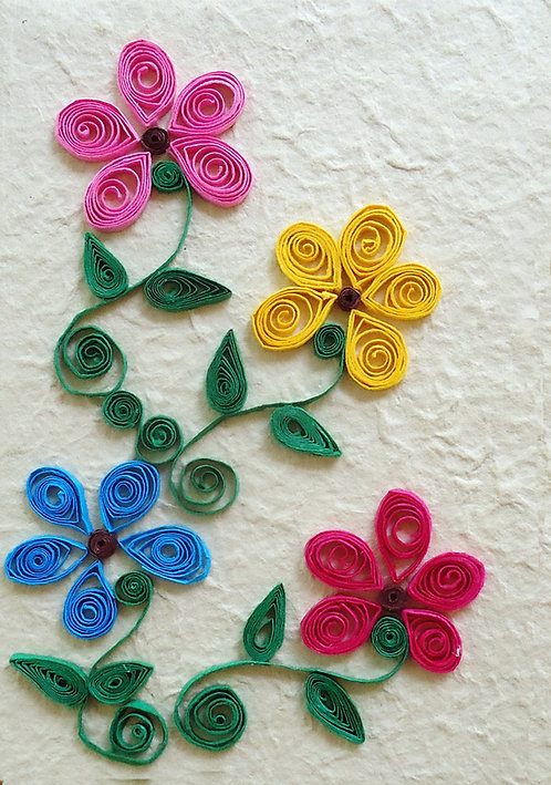 Notebook with 4 Quilled Flowers