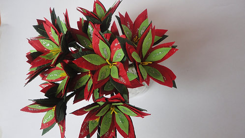 Poinsettia on wire decoration pack of 4