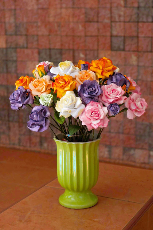 Variegated Paper Roses - Bouquet