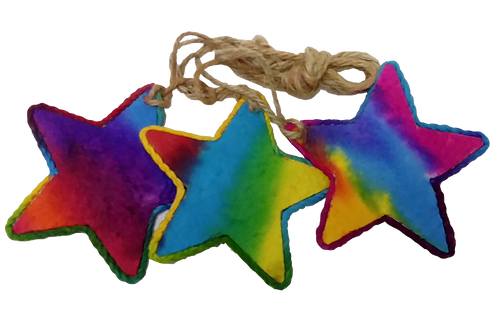 Multi-coloured saa stars with string