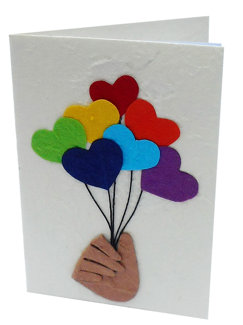 Hand and Heart Balloon Cards