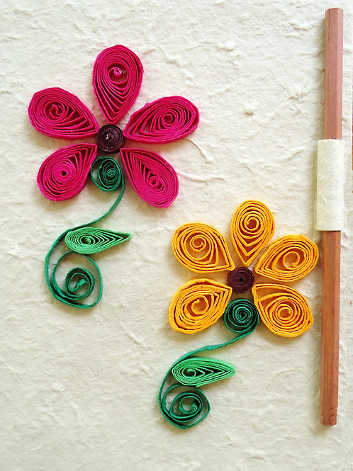 Quilled Notebooks - Two Rounded Flowers