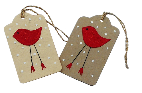 Red Bird in Snow gift tags