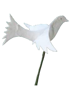 Peace dove on wire decoration set of 5