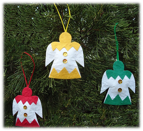 Tri-coloured Tree Decorations - set of 6
