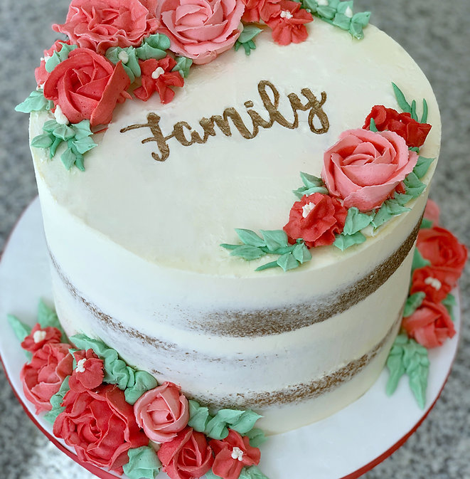 buttercream flowers semi naked cake fami
