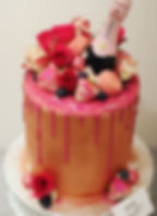 Rose Gold Hot Pink Glam Cake Champagne.J