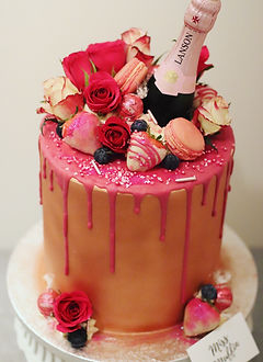 Rose Gold Hot Pink Glam Cake Champagne.J