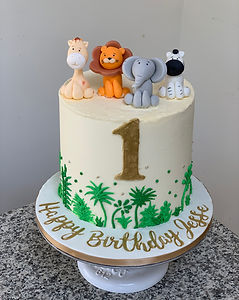 one 1st birthday animals jungle baby cak