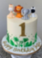 one 1st birthday animals jungle baby cak