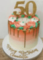 gold drip coral rosette cake.JPG