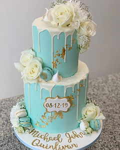 blue christening cake flowers boy baby s