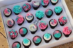 Hot Pink Turquire Mini Cupcakes.JPG