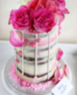 Chocolate Mud Tall Cake with Pink Roses