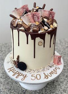 50 pound notes cake chocolate explosion.