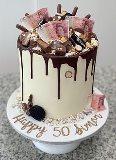 50 pound notes cake chocolate explosion.