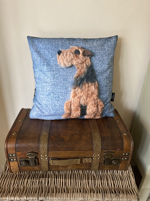 Welsh terrier cushion cover /blue