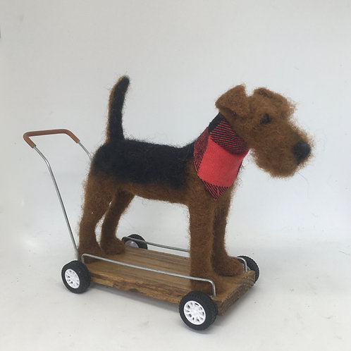 Vintage terrier on wheels
