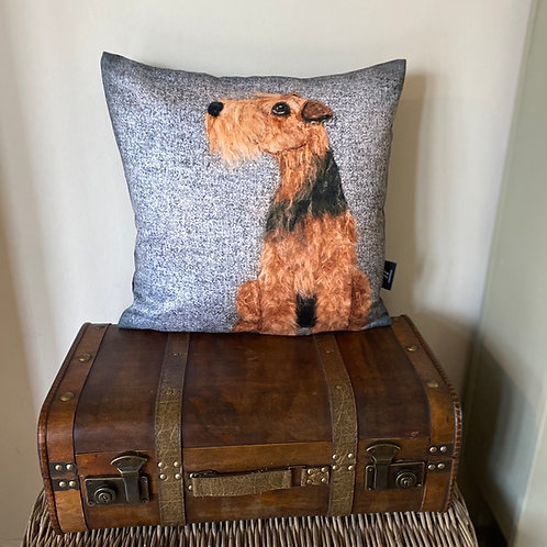 Welsh terrier cushion cover/grey