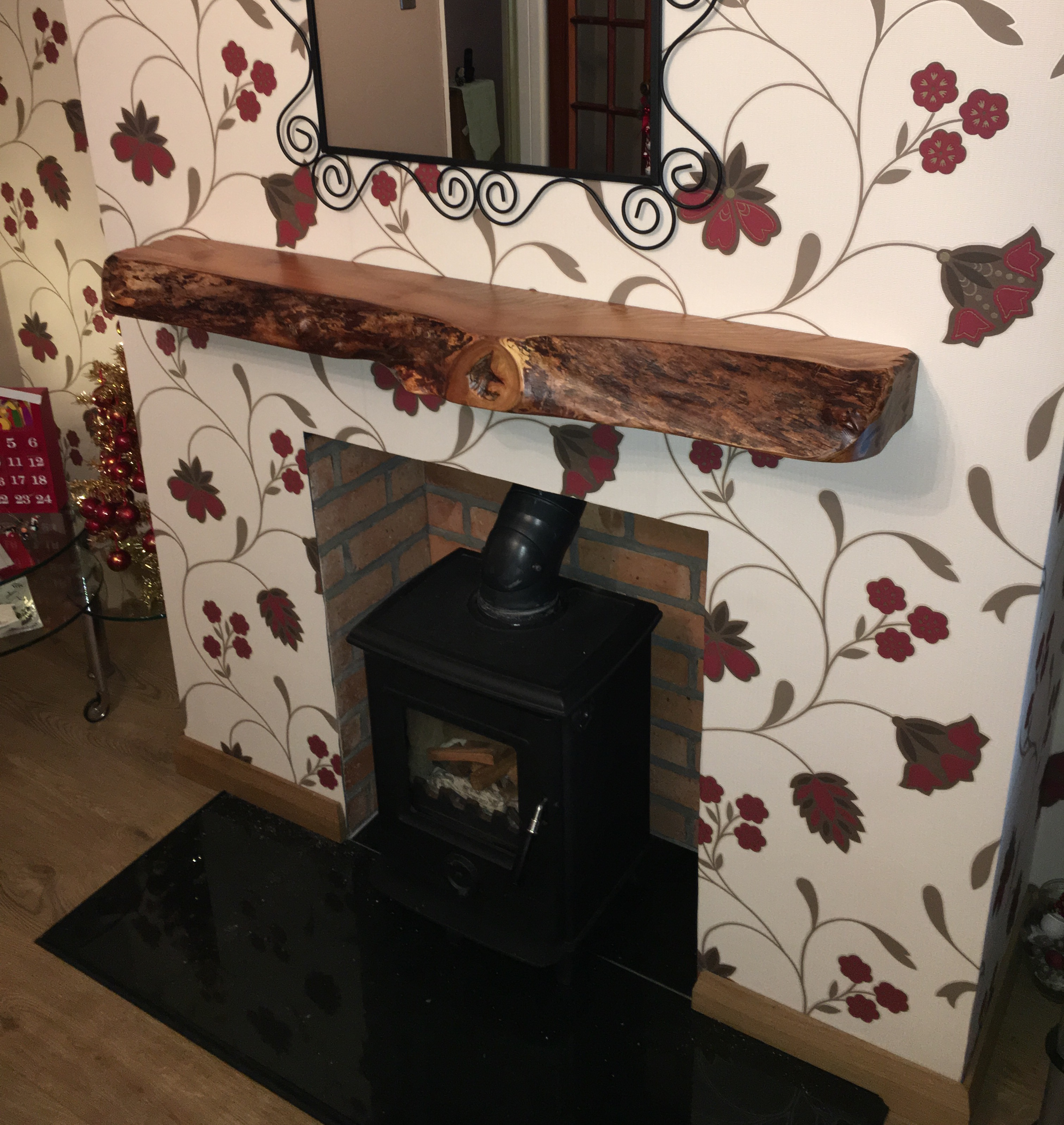 Free Floating Wood Beam Mantle