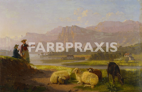 Johann Jakob Biedermann | Seeufer bei Luzern mit weinendem Kleinvieh