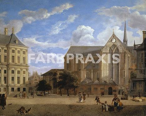 Jan van der Heyden | Der Dam in Amsterdam gegen Rathaus und Nieuwe Kerk