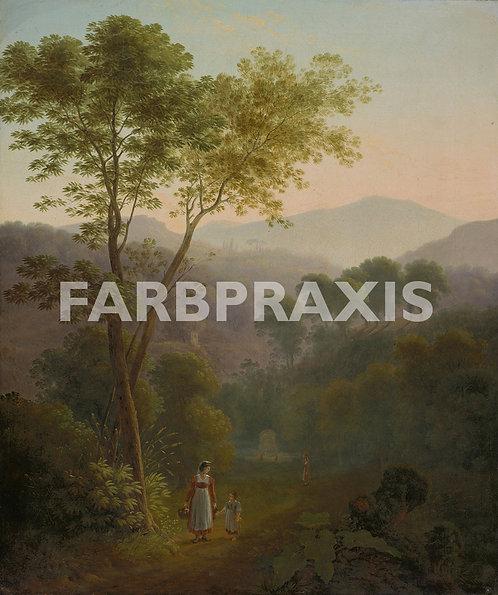 Samuel Birmann | Italienische Landschaft mit Frauen am Brunnen (Tivoli)