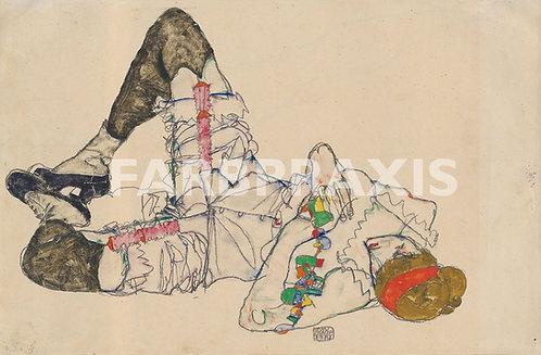Egon Schiele | Auf dem Ruecken liegende Frau