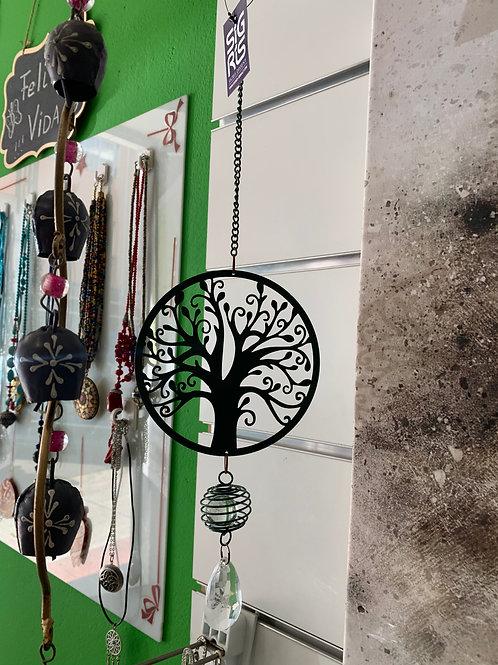 Movil Arbol de la Vida Verde con bola de Feng Shui