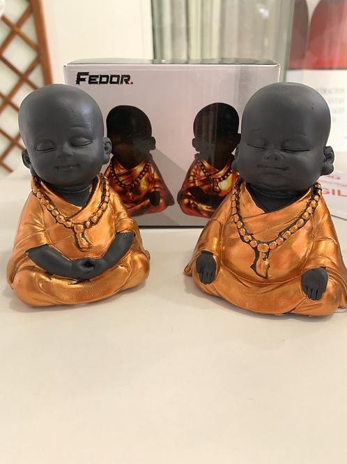 2 Figuras de Resina Shaolin Naranja Brillo 9 x 7x 10.2 CM