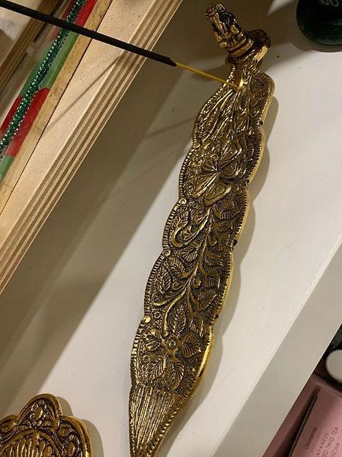 Incensario en forma de hoja con Ganesha