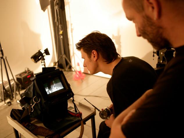 Filmploeg in de studio