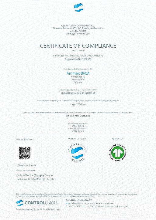 Ammex-GOTS Certificate-nr. CU1050373GOTS