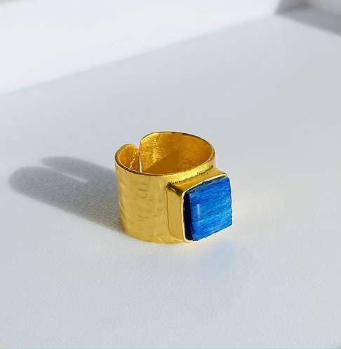 Adjustable Gold Plated Square Statement Ring