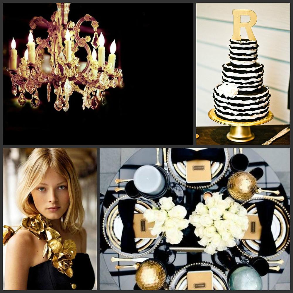 Декор свадьбы в золотом и черном цветах
