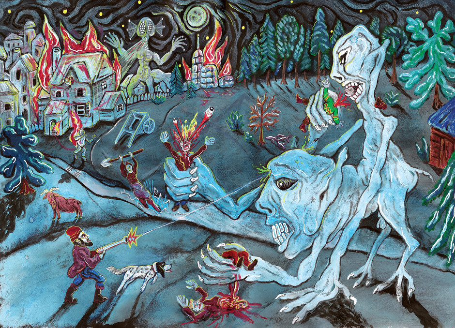 """Illustration taken from """"Aminoacid Boy"""" by Diego Lazzarin  Acrylics and inks  SOLD"""