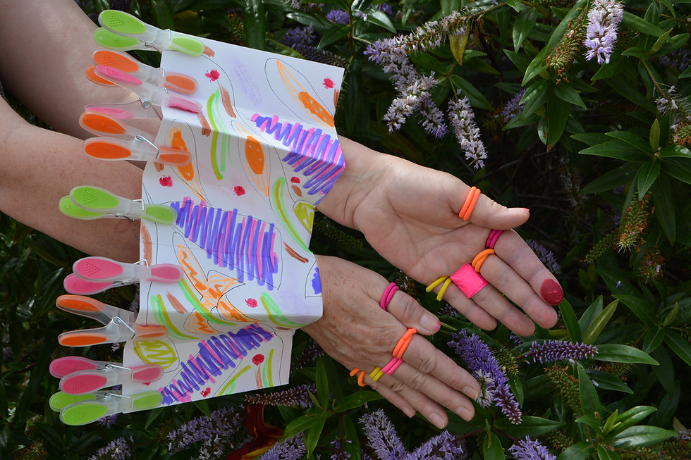 Hands of Clare Carswell with a wearable