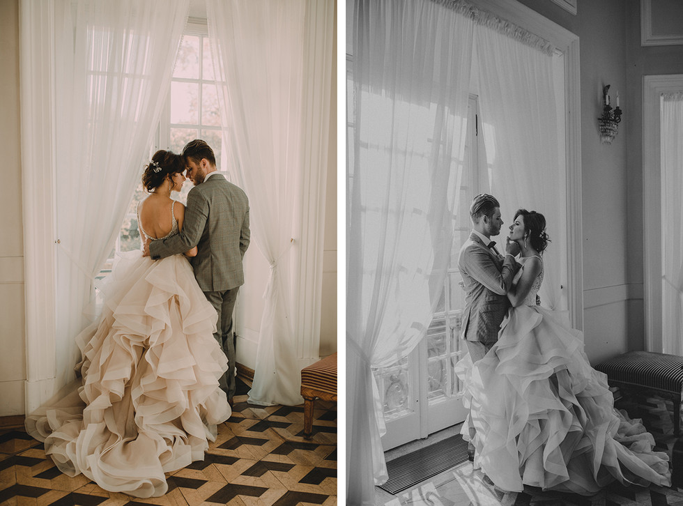para młoda przy oknie, sesja ślubna Pałac Otwock Wielki, Muzeum Wnętrz w Otwocku Wielkim, fotograf ślubny Warszawa