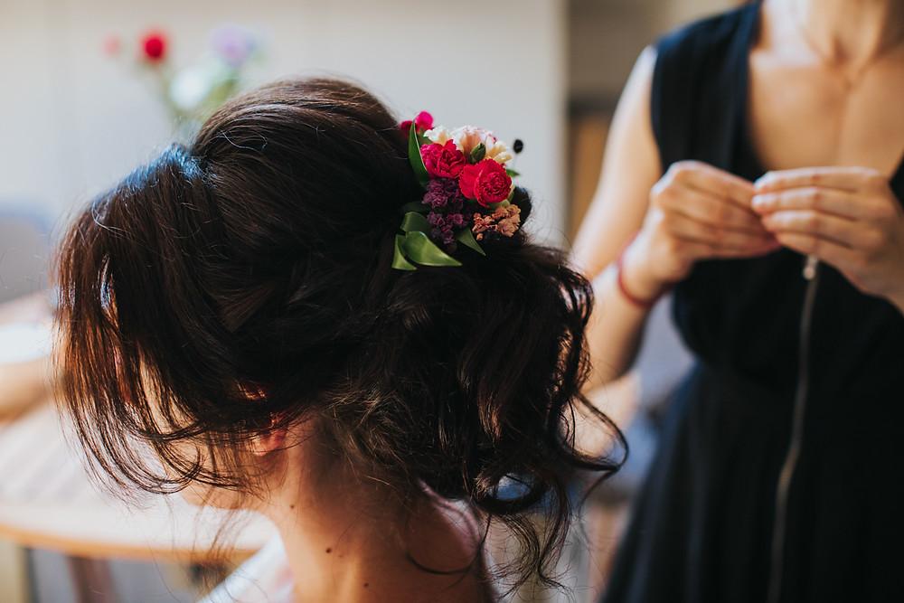 fryzura ślubna, boho upięcie, rustykalny ślub