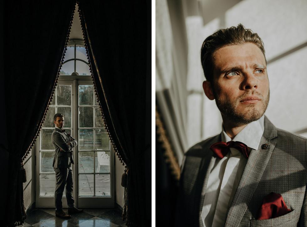pan młody przy oknie, sesja ślubna Pałac Otwock Wielki, Muzeum Wnętrz w Otwocku Wielkim, fotograf ślubny Warszawa