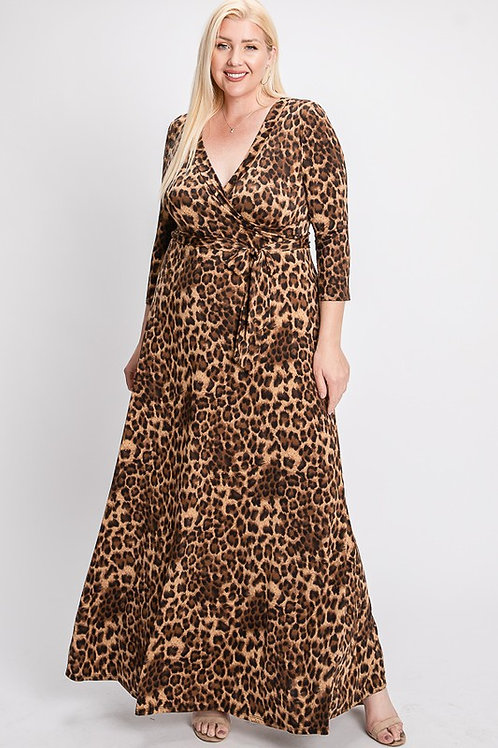 Leopard Print Wrap Bodice Maxi