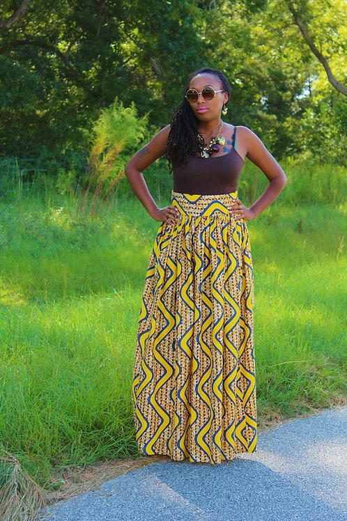 (Tomeica)-Ankara African Print Maxi Skirt