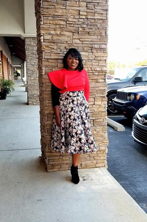 AnnaSue Floral Skirt